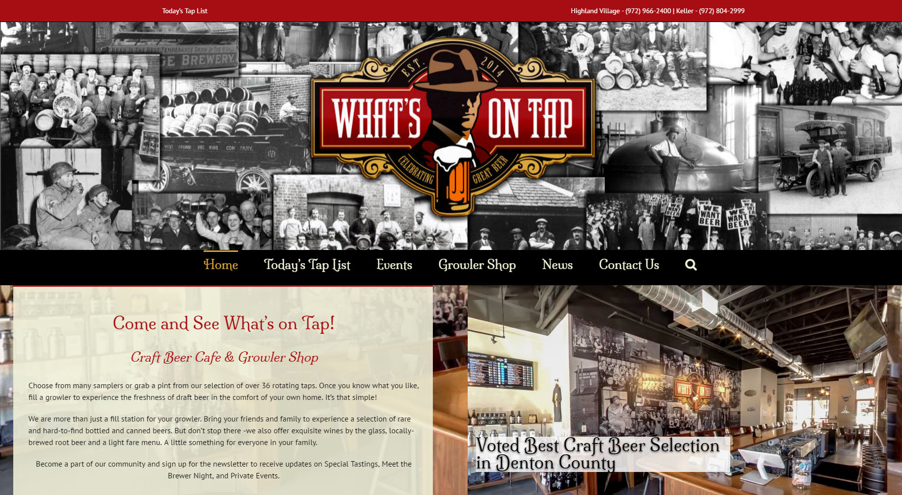 What's On Tap | Keller Website Design